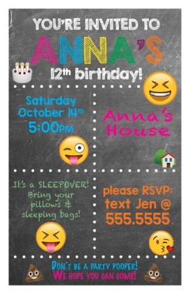 Emoji Themed Birthday Invitation